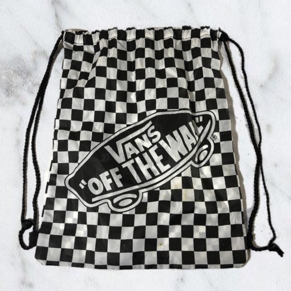 Vans Black   White Checkered Drawstring Backpack. M 5b5f6a6ede6f62b897e819c5 b226347087dcd